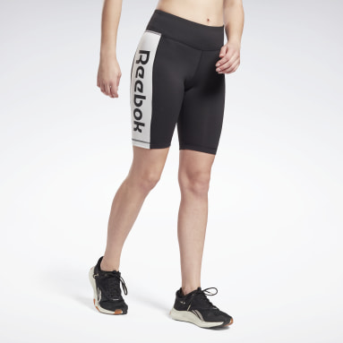 Women Cycling Black Linear Logo Fitted Shorts