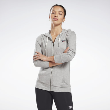 Women Fitness & Training Grey Reebok Identity Jersey Zip Up Hoodie