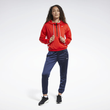 Women Fitness & Training Red Linear Logo Hoodie Track Suit