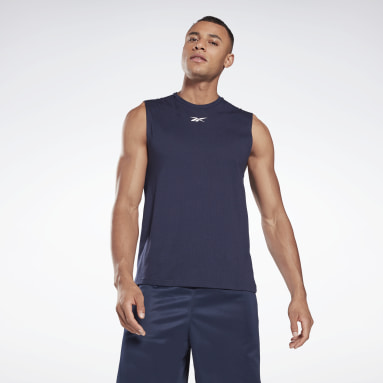 Men Basketball Blue Workout Ready Mesh Sleeveless T-Shirt