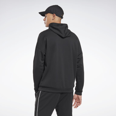 Men Hiking Black Workout Ready Doubleknit Zip-Up Hooded Jacket