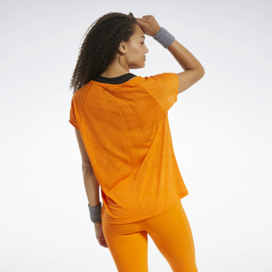 Playera Burnout Naranja Mujer Fitness & Training