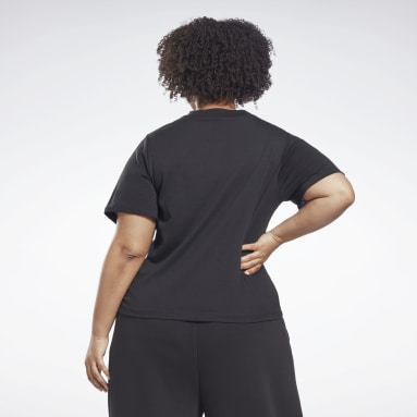 Women Dance Black Reebok Identity Cropped T-Shirt (Plus Size)