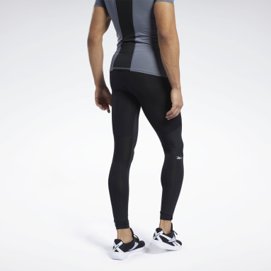 Men Trail Running Black Workout Ready Compression Tights