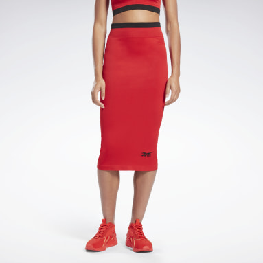 Women Fitness & Training Red VB Seamless Skirt