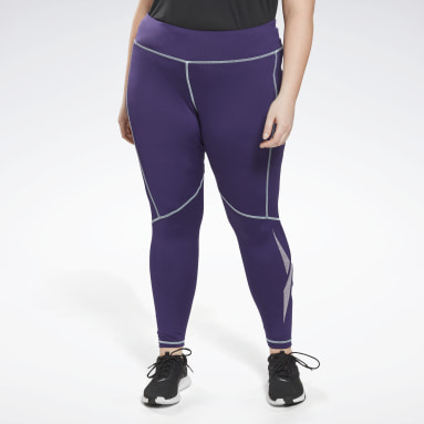 Women Training Purple Workout Ready Vector Leggings (Plus Size)