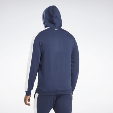 Men Fitness & Training Blue Training Essentials Linear Logo Zip-Up Hooded Jacket