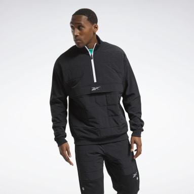 Men City Outdoor Black MYT Quilted Half-Zip Jacket