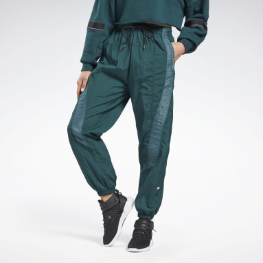 Women Dance Green Shiny Woven Tracksuit Bottoms