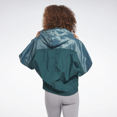 Women Dance Green Shiny Woven Jacket
