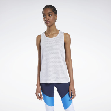 Women Fitness & Training White Perforated Tank Top