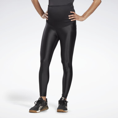 Women Studio Black Shiny Maternity Leggings