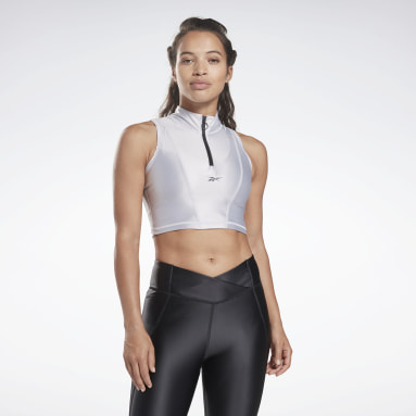 Women Cycling Zip Cropped Tank Top