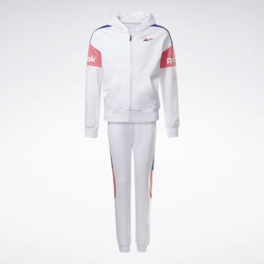 Mädchen Fitness & Training Two-Piece Reebok Classic Full-Zip Hoodie and Joggers Set Weiß