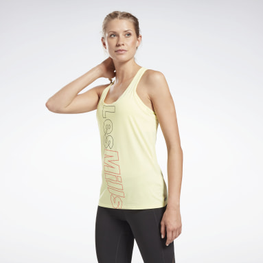 Women Pilates Yellow Les Mills® Activchill Athletic Tank Top