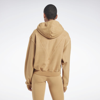 Women Fitness & Training Beige VB Travel Hoodie