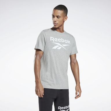 Men HIIT Grey Graphic Series Reebok Stacked Tee