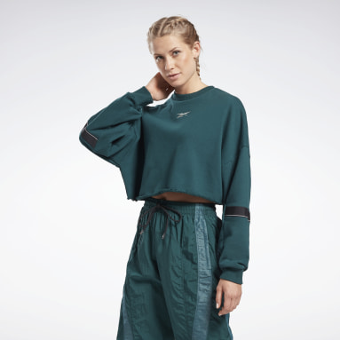 Women Pilates Green Studio Cropped French Terry Crew Sweatshirt
