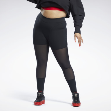 Women Classics Black Cardi B Mesh High-Rise Leggings (Plus Size)
