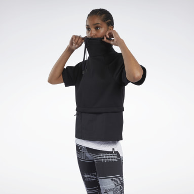 Women Fitness & Training Black Cowl Neck Sweatshirt