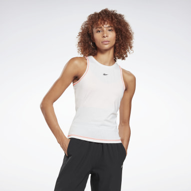 Women Studio White Workout Ready Mesh Tank Top