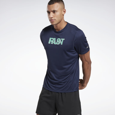 Men Trail Running Blue Run Essentials Run Fast T-Shirt