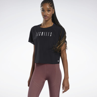Women Studio Black LES MILLS® Light Woven Tee