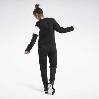 Women Fitness & Training Black Linear Logo Crewneck Track Suit