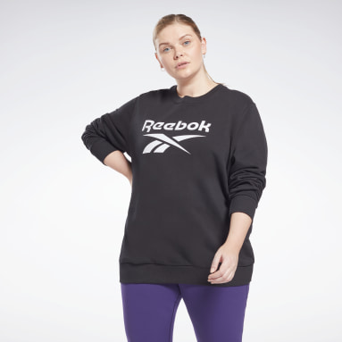 Sweat à col rond Reebok Identity Logo French Terry (Grande taille) Noir Femmes Fitness & Training