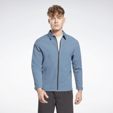 Men Training Blue Utility Track Jacket