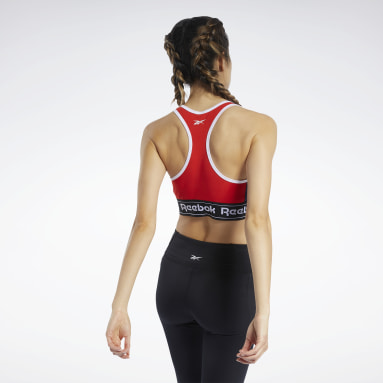 Frauen Fitness & Training Training Essentials Linear Logo Low-Impact Bralette Rot