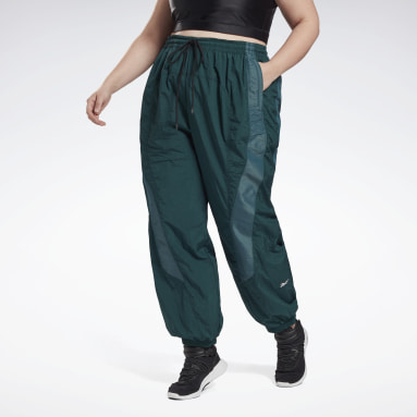 Women Dance Green Studio Woven Tracksuit Bottoms (Plus Size)