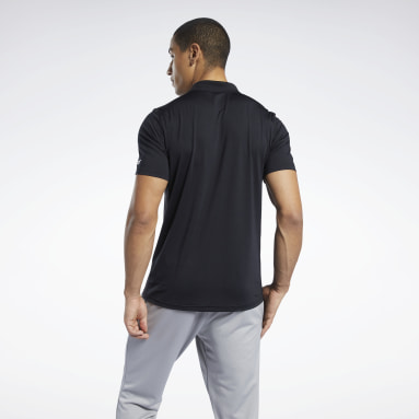 Men Training Black Workout Ready Polo Shirt