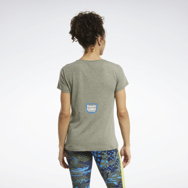 Women Fitness & Training Green Reebok CrossFit® Games ACTIVCHILL+COTTON Tee
