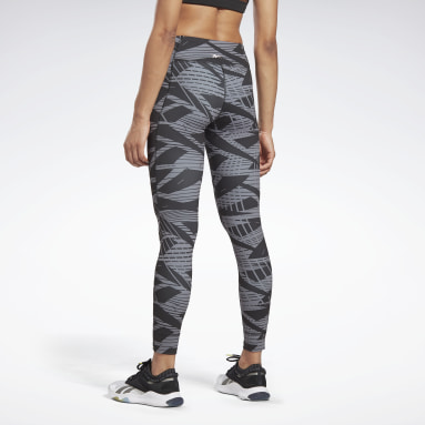 Women Studio Black LES MILLS® Reebok Lux Bold Tights 2.0 - AOP