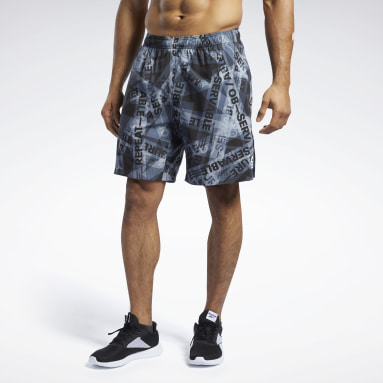 Men Cross Training Black Reebok CrossFit® Austin II Taped Print Shorts