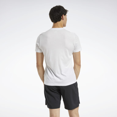 Men Training White Graphic Tee