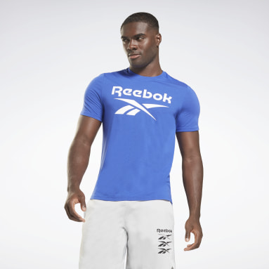 Men HIIT Blue Workout Ready Supremium Graphic Tee