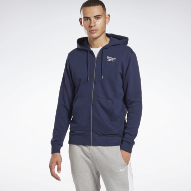 Men Fitness & Training Blue Reebok Identity Zip-Up Hooded Jacket