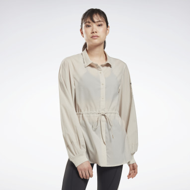 Camicia Collared Beige Donna Fitness & Training