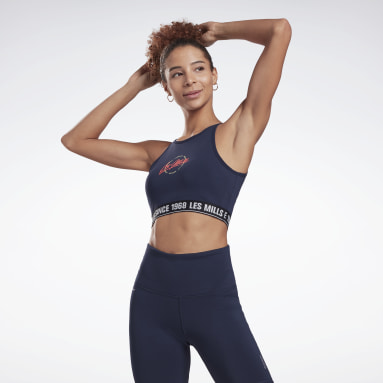 Women Pilates Blue Les Mills® Beyond the Sweat Crop Top
