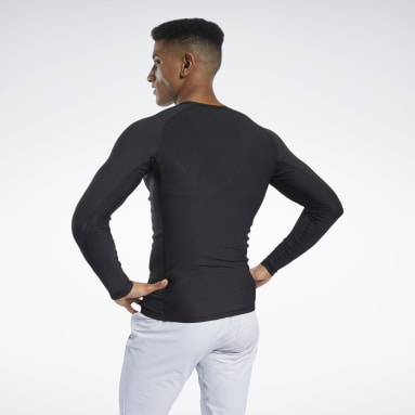 Men Trail Running Black Compression Printed Long Sleeve Tee
