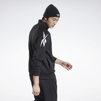 Men Pilates Black Performance Foundation Knit Track Jacket