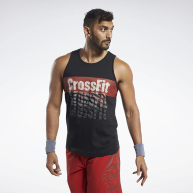 Heren Crosstraining Zwart Reebok CrossFit® Repeat Graphic Tanktop