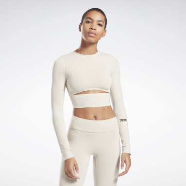 Women Fitness & Training Beige VB Logo Long Sleeve Crop Top