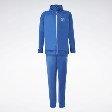Boys Fitness & Training Blue Two-Piece Reebok Full-Zip Jacket and Joggers Set