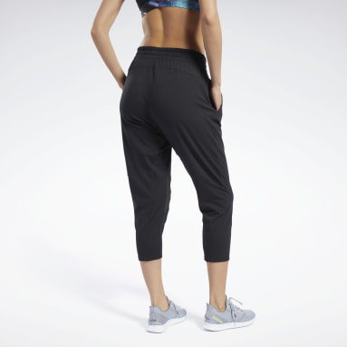 Women Training Black Jersey 7/8 Pants