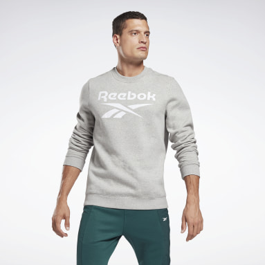 Men Fitness & Training Grey Reebok Identity Fleece Crew Sweatshirt