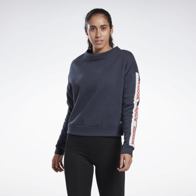 Dames Fitness & Training Blauw Linear Logo Sweatshirt met Ronde Hals