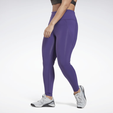 Women Training Purple Lux High-Rise Leggings (Plus Size)
